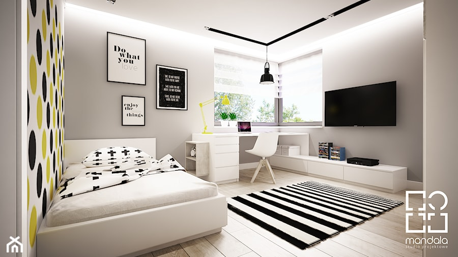 pokoik dla ch opca 15 m2 zdj cie od studio projektowe mandala homebook. Black Bedroom Furniture Sets. Home Design Ideas