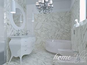 Black & White - Mała biała łazienka na poddaszu w bloku w domu jednorodzinnym z oknem, styl glamour - zdjęcie od Home Atelier Aneta Rosińska-Dadsi