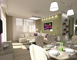 Lawendowa Prowansja - Średnia otwarta biała beżowa fioletowa jadalnia w salonie, styl prowansalski - zdjęcie od Home Atelier Aneta Rosińska-Dadsi