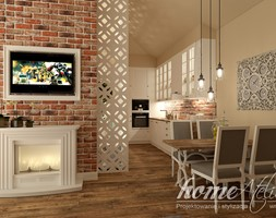 Bursztynowe poddasze - Średnia otwarta brązowa jadalnia w kuchni w salonie - zdjęcie od Home Atelier Aneta Rosińska-Dadsi