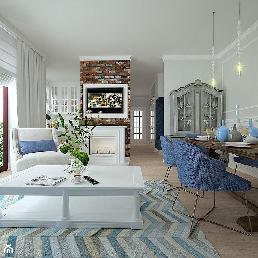 Modern vintage - Duży biały salon z jadalnią, styl nowoczesny ...