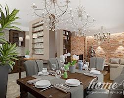 Kolonialny Modern - Średnia otwarta beżowa jadalnia w kuchni w salonie, styl kolonialny - zdjęcie od Home Atelier Aneta Rosińska-Dadsi