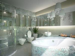 Stylowa mięta - Duża biała turkusowa łazienka na poddaszu w bloku w domu jednorodzinnym bez okna, styl nowoczesny - zdjęcie od Home Atelier Aneta Rosińska-Dadsi