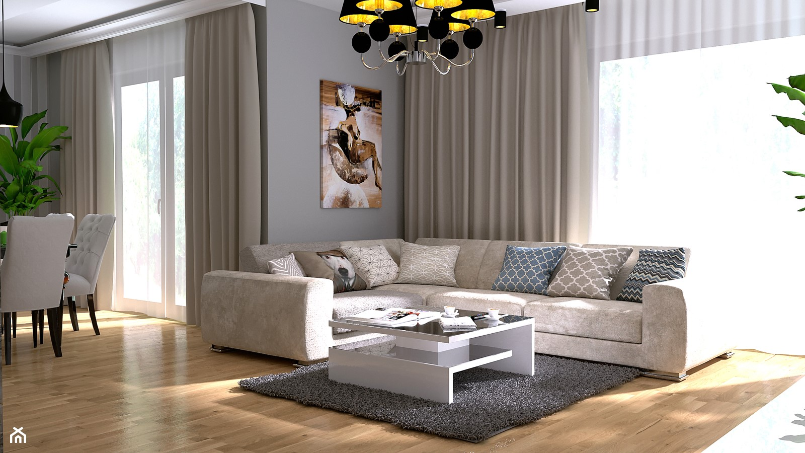 Daylight - Duży szary salon z jadalnią z tarasem / balkonem, styl nowoczesny - zdjęcie od Home Atelier Aneta Rosińska-Dadsi - Homebook