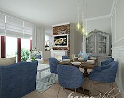 Lazurowy Vintage - Duża otwarta szara jadalnia w salonie, styl vintage - zdjęcie od Home Atelier Aneta Rosińska-Dadsi