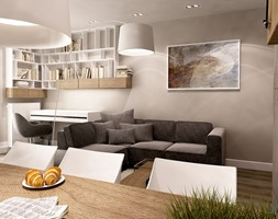 Apartament w wielu odcieniach szarości - Mały biały beżowy salon z jadalnią, styl nowoczesny - zdjęcie od Insidelab