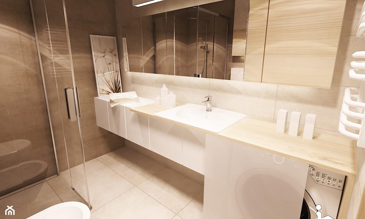 pralka schowana pod blatem w łazience