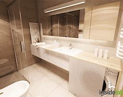 KAWALERKA Z ZIELONĄ SOFĄ - Średnia szara łazienka w bloku bez okna, styl skandynawski - zdjęcie od Insidelab