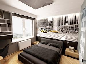 APARTAMENT Z BALKONEM W DREWNIE - Mała szara sypialnia małżeńska, styl nowoczesny - zdjęcie od Insidelab