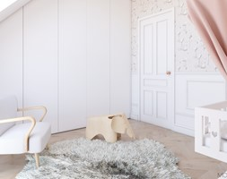 Miedziany akcent - Średni biały różowy pokój dziecka dla dziewczynki dla niemowlaka, styl skandynawski - zdjęcie od MOBO