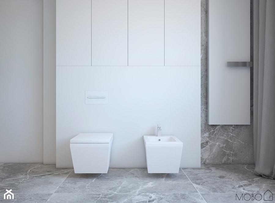 Minimalistyczna łazienka - Mała biała szara łazienka w bloku w domu jednorodzinnym z oknem, styl minimalistyczny - zdjęcie od MOBO