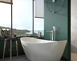 KLUDI AMBA - Mała zielona łazienka w bloku w domu jednorodzinnym z oknem, styl eklektyczny - zdjęcie od KLUDI