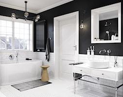 KLUDI BOZZ - Mała biała beżowa łazienka na poddaszu w bloku z oknem, styl eklektyczny - zdjęcie od KLUDI