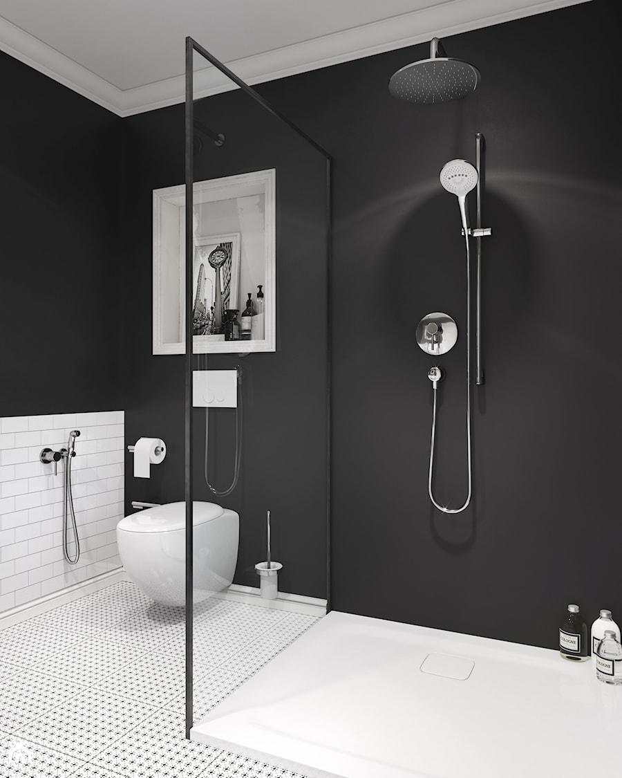 Kludi Bozz Mała Biała Czarna łazienka Na Poddaszu W Bloku