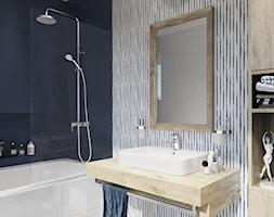 KLUDI LOGO - Mała niebieska łazienka w bloku w domu jednorodzinnym bez okna, styl eklektyczny - zdjęcie od KLUDI