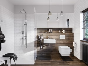 KLUDI TERCIO - Średnia biała łazienka na poddaszu w bloku w domu jednorodzinnym z oknem, styl eklektyczny - zdjęcie od KLUDI