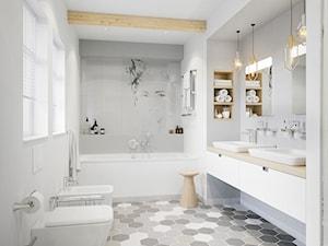 KLUDI OBJEKTA - Średnia biała szara łazienka na poddaszu w bloku w domu jednorodzinnym z oknem, styl eklektyczny - zdjęcie od KLUDI