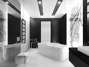 Czarno na białym - Duża biała czarna łazienka w domu jednorodzinnym, styl minimalistyczny - zdjęcie od Manufaktura Studio grupa projektowa