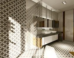Złoty środek - Duża biała łazienka w domu jednorodzinnym jako salon kąpielowy z oknem, styl nowoczesny - zdjęcie od Manufaktura Studio grupa projektowa