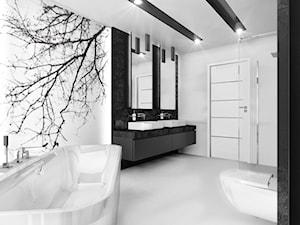 Czarno na białym - Średnia biała łazienka w bloku bez okna, styl minimalistyczny - zdjęcie od Manufaktura Studio grupa projektowa
