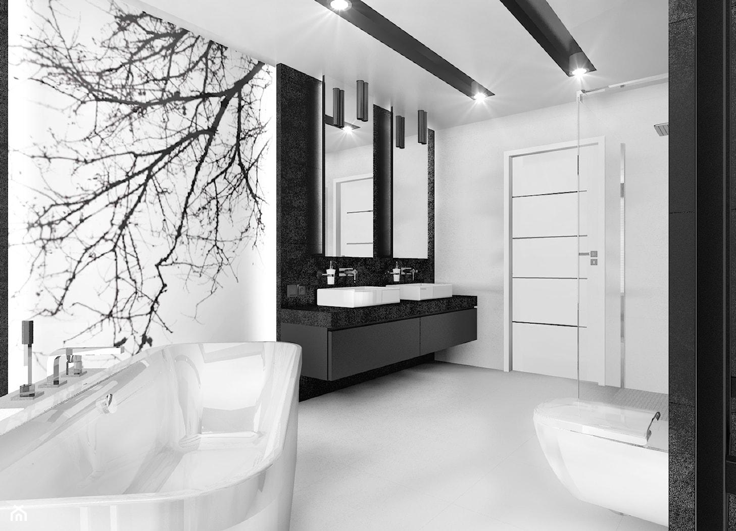 Czarno na białym - Średnia biała łazienka w bloku bez okna, styl minimalistyczny - zdjęcie od Manufaktura Studio grupa projektowa - Homebook