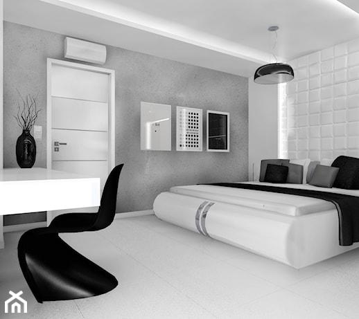 Czarno Na Białym Sypialnia Styl Minimalistyczny Zdjęcie