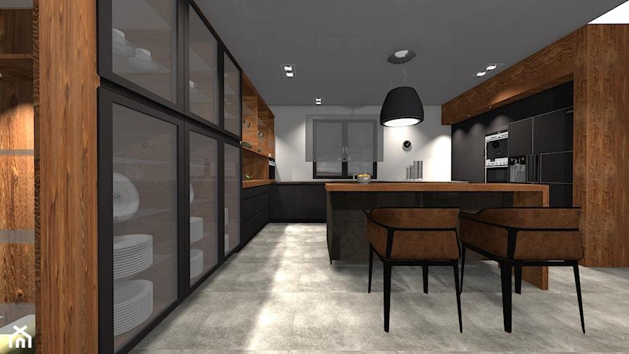 Kuchnia Antracyt Plus Drewno Duża Otwarta Szara Kuchnia W