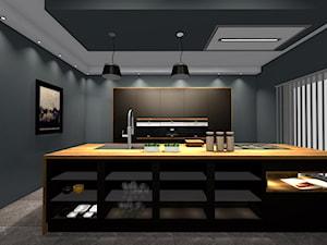 Kuchnia w apartamencie, otwarta na pokój. - Duża otwarta czarna kuchnia dwurzędowa z wyspą z oknem, styl minimalistyczny - zdjęcie od BiZ Art