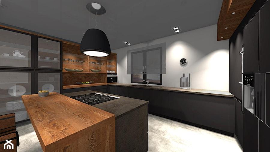 Kuchnia Antracyt Plus Drewno Kuchnia Styl Nowoczesny Zdjecie