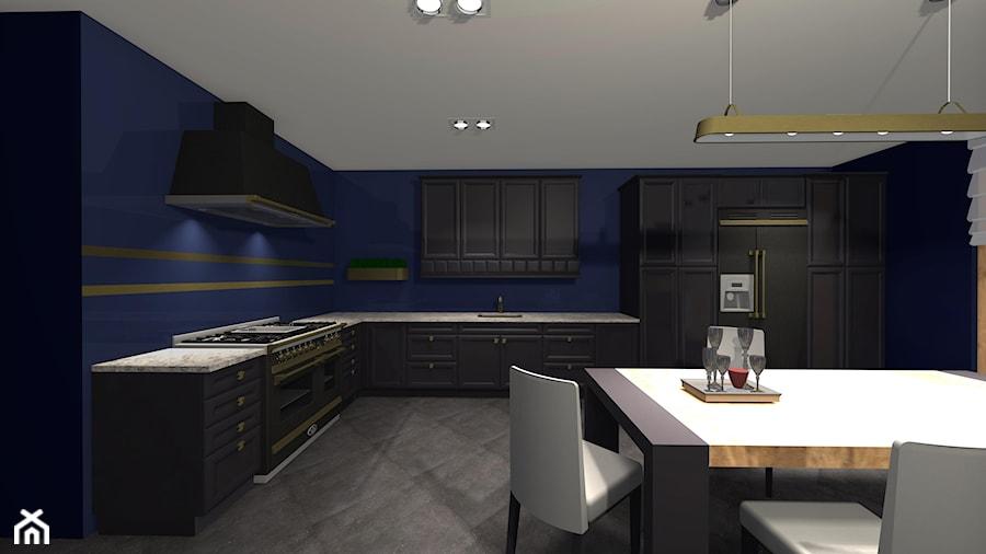 Kuchnia W Graficie Duza Otwarta Niebieska Kuchnia W Ksztalcie