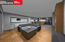 Kuchnia z jadalnią i salonem - nowoczesne połączenie drewna i szarości - Kuchnia, styl ...