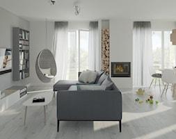 Salon- strefa wypoczynkowa z kominkiem - zdjęcie od Mohav Design