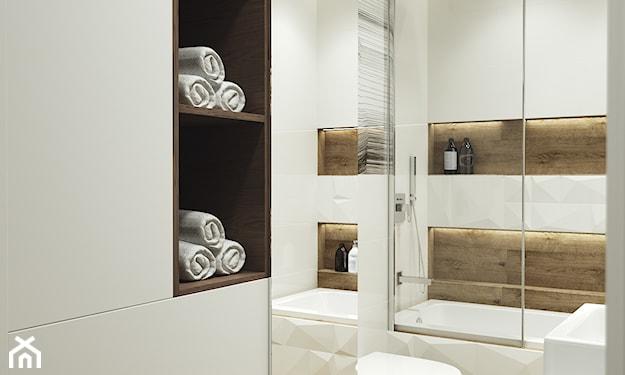 łazienka w stylu skandynawskim, wanna ze szklanym parawanem