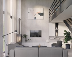 Salon z antresolą - zdjęcie od Mohav Design - Homebook
