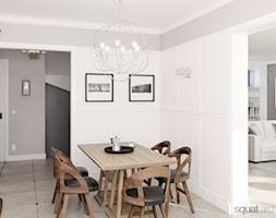 DOM W WARSZAWIE - Średnia otwarta biała szara jadalnia jako osobne pomieszczenie, styl nowojorski - zdjęcie od squat architekci