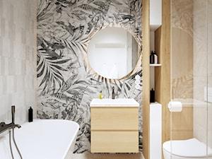 MIESZKANIE W ŁODZI 69m2 - Mała biała beżowa szara łazienka bez okna - zdjęcie od squat architekci