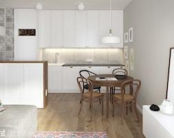 MIESZKANIE W ŁODZI 56m2 - Średnia otwarta szara kuchnia w kształcie litery u w aneksie, styl vintage - zdjęcie od squat architekci