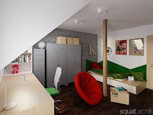 PODDASZE DOMU W KOMOROWIE KOŁO WARSZAWY - Średni biały szary pokój dziecka dla chłopca dla dziewczynki dla ucznia dla nastolatka, styl industrialny - zdjęcie od squat architekci