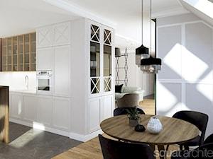 MIESZKANIE W ŁODZI 115m2 - Duża otwarta biała kuchnia w kształcie litery l z wyspą z oknem, styl nowojorski - zdjęcie od squat architekci