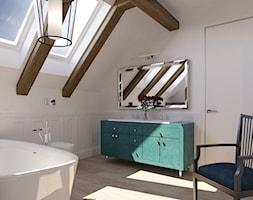Dom na wsi - Średnia biała łazienka w bloku w domu jednorodzinnym z oknem, styl klasyczny - zdjęcie od Piotr Bileński