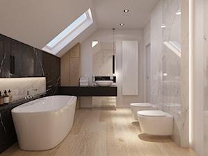 Łazienka - Duża biała łazienka na poddaszu w domu jednorodzinnym z oknem, styl nowoczesny - zdjęcie od Piotr Bileński