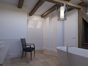 Dom na wsi - Średnia biała łazienka na poddaszu w bloku w domu jednorodzinnym z oknem, styl klasyczny - zdjęcie od Piotr Bileński
