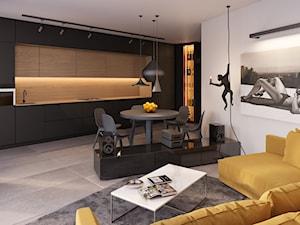 Mieszkanie 1 - Duża otwarta biała czarna kuchnia jednorzędowa w aneksie z oknem, styl nowoczesny - zdjęcie od Piotr Bileński