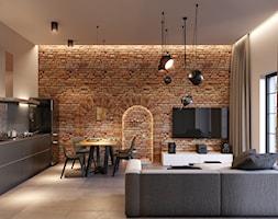 Projekt Loftu - Średni szary salon z kuchnią z jadalnią, styl industrialny - zdjęcie od Piotr Bileński