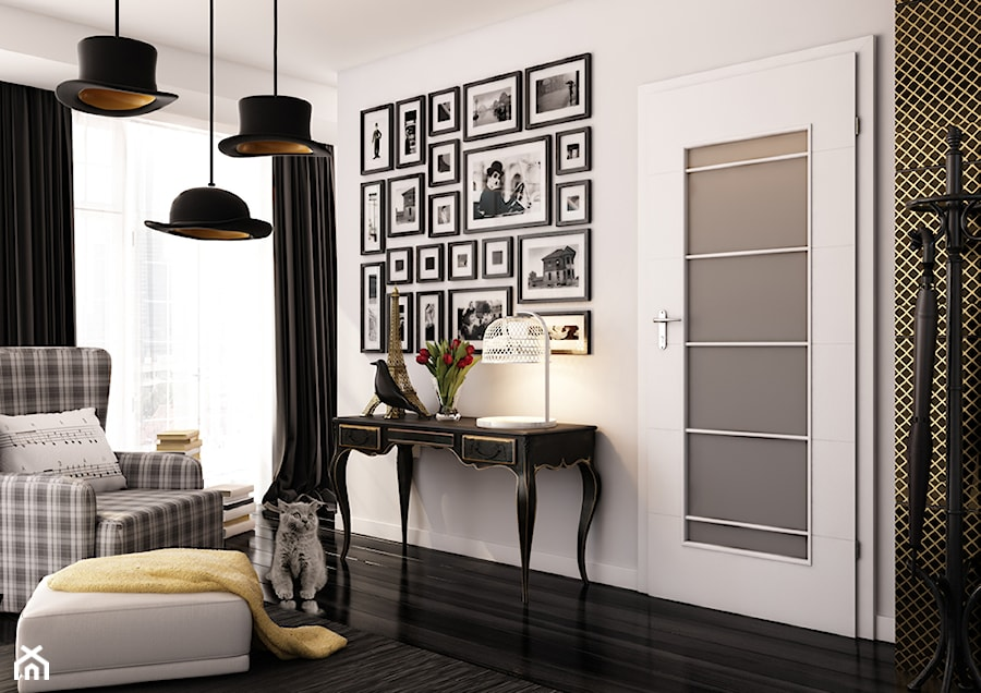 Aranżacje wnętrz - Salon: Drzwi wewnętrzne - Salon, styl eklektyczny - POL-SKONE. Przeglądaj, dodawaj i zapisuj najlepsze zdjęcia, pomysły i inspiracje designerskie. W bazie mamy już prawie milion fotografii!