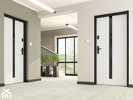Aranżacje wnętrz - Wnętrza publiczne: Drzwi wewnętrzne - Wnętrza publiczne, styl minimalistyczny - POL-SKONE. Przeglądaj, dodawaj i zapisuj najlepsze zdjęcia, pomysły i inspiracje designerskie. W bazie mamy już prawie milion fotografii!