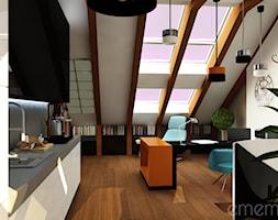 Projekt poddasza - Duże szare biuro domowe kącik do pracy na poddaszu w pokoju, styl nowoczesny - zdjęcie od emem Studio