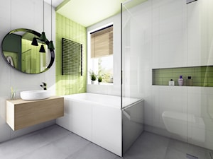 Projekt łazienki w kolorze pistacji - Średnia biała zielona łazienka w bloku w domu jednorodzinnym z oknem, styl nowoczesny - zdjęcie od Offa Studio