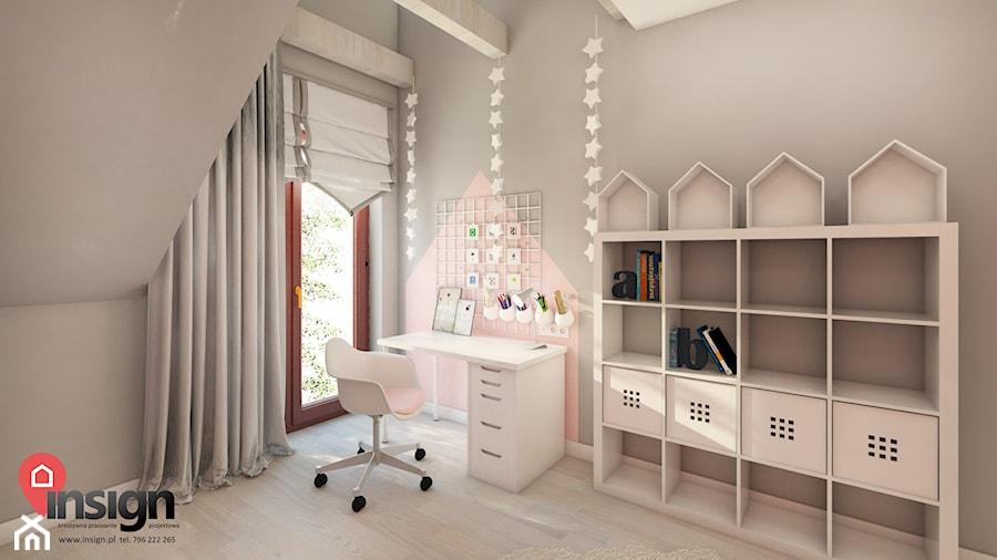 Cz_01 pokój młodszej siostry - Mały szary pokój dziecka dla chłopca dla dziewczynki dla ucznia dla malucha dla nastolatka, styl nowoczesny - zdjęcie od InSign Aranżacje i projekty wnętrz