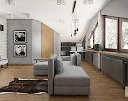 Rzg_01 - Średni szary salon z bibiloteczką, styl industrialny - zdjęcie od InSign Aranżacje i projekty wnętrz